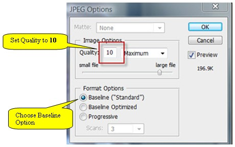Photoshop JPEG Options